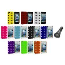 Basket Weave Hard Rubberized Case Cover+Car Charger for Apple iPhone 5 5S 5th
