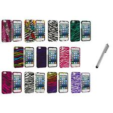Zebra Design Hard Snap-On Rubberized Case Cover+Metal Pen for iPhone 5 5S