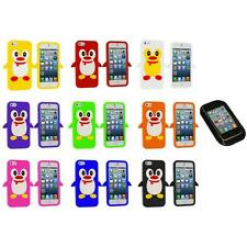 Penguin Cute Silicone Color Rubber Skin Case Cover+Sticky Pad for iPhone 5 5S