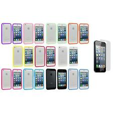 Color TPU Jelly Solid Gloss Bumper Case Cover+3X LCD Protector for iPhone 5 5S