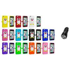 For Apple iPhone 5C Penguin Case Silicone Cute Soft Gel Skin Cover+2.1A Charger