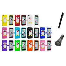 For Apple iPhone 5C Penguin Case Silicone Cute Soft Gel Skin Cover+Charger+Pen