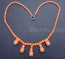 "SALE Big Round 4-10mm pink 5 pcs pendants Natural coral 17"" Necklace-nec5892"