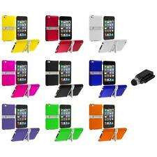 Hard Rubberized Case Cover Chrome Stand+Dock Stylus for iPod Touch 4th Gen 4G 4
