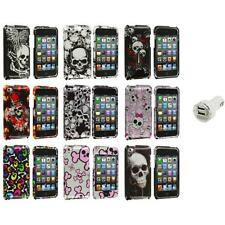 Color Skulls Design Hard Case Cover+Dual Charger for iPod Touch 4th Gen 4G 4