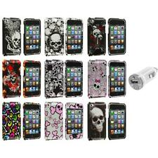 Color Skulls Design Hard Case Cover+USB Charger for iPod Touch 4th Gen 4G 4