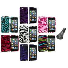 Zebra Design Hard Case Cover Accessory+Car Charger for iPod Touch 4th Gen 4G 4
