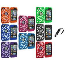 Hybrid Zebra Deluxe Case Cover+LCD+Stylus Plug for iPod Touch 4th Gen 4G 4