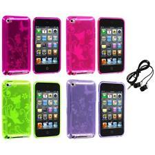 Butterfly Flower TPU Rubber Case Cover+Headphones for iPod Touch 4th Gen 4G 4