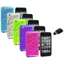 TPU Zebra Rubber Skin Case Cover+Dock Stylus for iPod Touch 4th Gen 4G 4
