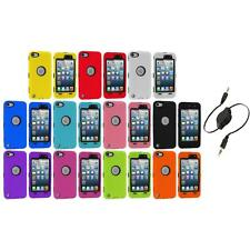 Deluxe Hybrid 3-Piece Case Cover+Protector+Aux Cable for iPod Touch 5th 5G