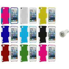 Hybrid Mesh Hard/Soft Skin Case Cover+Dual Charger for iPod Touch 5th Gen 5G 5