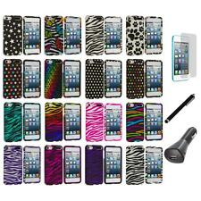 Zebra Polka Dot Hard Design Case+LCD+Charger+Pen for iPod Touch 5th Gen 5G