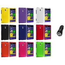 For HTC Windows Phone 8XT Color Hard Snap-On Rubberized Case Cover+2.1A Charger