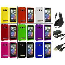 Color Hard Snap-On Rubberized Case Cover+3X Chargers for HTC Sprint EVO 4G