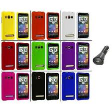 Color Hard Snap-On Rubberized Case Cover+Car Charger for HTC Sprint EVO 4G
