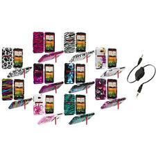 Design Hard Snap-On Case Cover Accessory+Aux Cable for HTC EVO 4G LTE Sprint