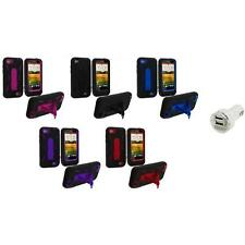 Hybrid Rugged Hard/Soft Case Cover with Stand+Dual Charger for HTC One V Phone
