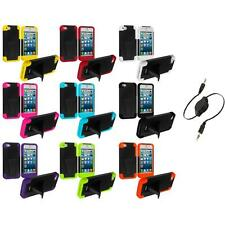 For iPhone 5S 5G 5 Heavy Duty Hybrid Hard/Soft Case Cover Stand+Aux Cable