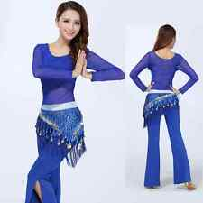 HJ16# Belly Dance Costume (See-through Top,Raindrop Sequins Scarf,Pants)2 Colors