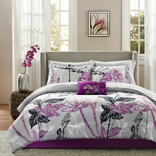 Floral Comforter Set Purple Bedskirt Shams Sheets Pillow 9 Pc Queen King Bedding