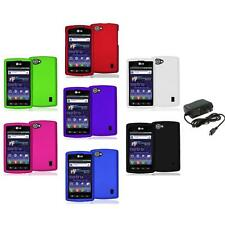 Color Hard Snap-On Skin Case Cover+Wall Charger for LG Optimus M+ Plus MS695