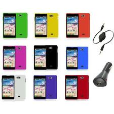 For LG Spirit 4G MS870 Color Hard Snap-On Rubberized Case Cover+Aux+Charger