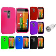 For Motorola Moto G Silicone Rubber Skin Case Cover Accessory USB Charger