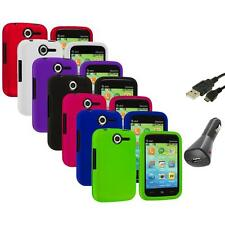 Color Hard Snap-On Rubberized Skin Case Cover+Charger+USB for Pantech Renue 6030