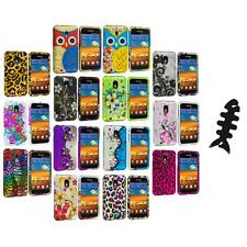 Design Hard Rubberized Case Cover+Cable Wrap for Samsung Sprint Galaxy S2 S II