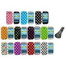 TPU Polka Dot Case Cover Accessory+Car Charger for Samsung Galaxy S3 S III i9300