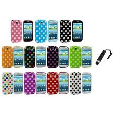 TPU Polka Dot Case Cover Accessory+Stylus Plug for Samsung Galaxy S3 S III i9300