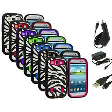 Zebra Hybrid Case Cover+Built Protector+3X Chargers for Samsung Galaxy S3 S III