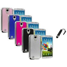 Brushed Aluminum Chrome Metal Case Cover+Stylus Plug for Samsung Galaxy S4 S IV