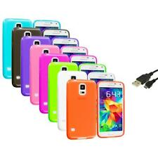 For Samsung Galaxy S5 SV TPU Transparent Color Soft Case Cover+USB Cable