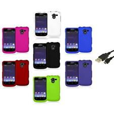 Color Hard Rubberized Case Cover+USB Cable for ZTE Avid 4G N9120 Metro PCS