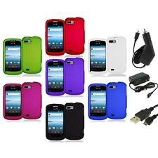 Color Hard Snap-On Rubberized Case Cover Accessory+3X Chargers for ZTE Fury N850