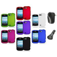 Color Hard Snap-On Rubberized Case Cover Accessory+2X Chargers for ZTE Fury N850