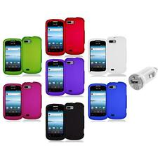 Color Hard Snap-On Rubberized Case Cover Accessory+USB Charger for ZTE Fury N850