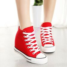 Womens Girls Hidden Wedge 8CM Canvas High-Top Lace Up Platform Sneakers Trainers