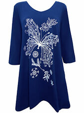 NEW PLUS SIZE Ivans BUTTERFLY Print Stretch Jersey Tunic Top BLUE 16 to 26/28