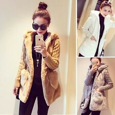 Fashion Women Knitting+Faux Fur Long Sleeve Zip Winter Outwear Coat Solid Hot