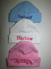 Personalised Baby Hat 100% Cotton Name Embroidered New Baby Gift Keepsake