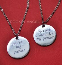 Antique Silver Plt Twin Necklaces 'You're My Person' Greys Anatomy Friends Gift