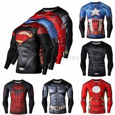 Men's Compression Marvel Superhero T-Shirt Fit Gym Sports Bicycle Jersey Men TOP