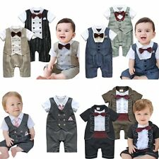 Baby Boy Wedding Tuxedo Christening Formal Suit One Piece Outfit Clothes 0-24M