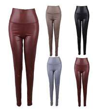 Sexy Women Jeans High Waisted Faux Leather Stretch Slim Leggings Skinny Pant ETU