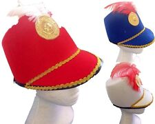 Adult England Party Costume Marching Hat W Gold Trim&Feather Hat Party Dress Up