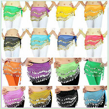 Newest 3 Rows Belly Dancing Hip Skirt Scarf Wrap Belt Hipscarf Gold 98 Coins