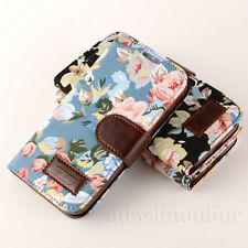 Flower Leather Flip Wallet Pouch Skin Case Cover For Samsung Galaxy S5 SV i9600